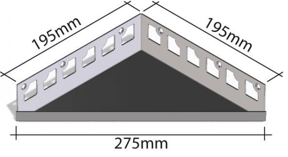 HK Edelstahl Duschablage befliesbar Dreieck 195x195x275mm
