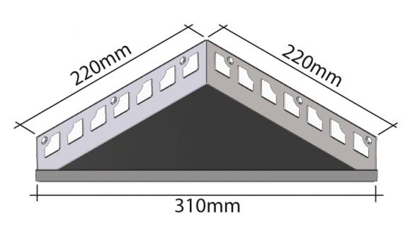 HK Edelstahl Duschablage befliesbar Dreieck 220x220x310mm