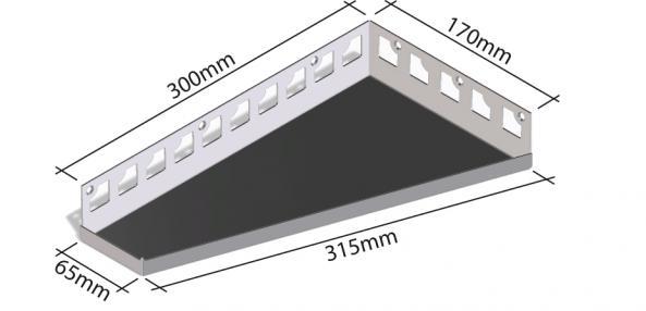HK Edelstahl Duschablage befliesbar Trapezförmig 300x170x65mm