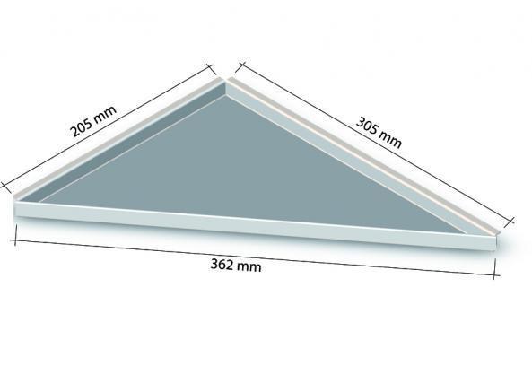 HK Edelstahl Duschablage befliesbar Dreieck nachrüstbar 205x305x362mm