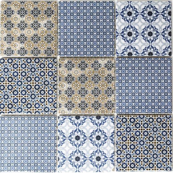 Mosaik Keramik Retro Blau 30x30cm