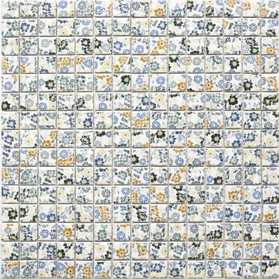 Mosaik Keramik Retro Blumen 30x30cm