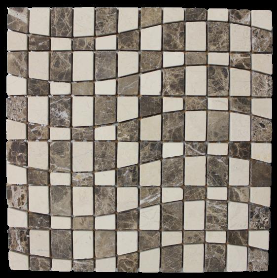 Mosaik Naturstein Welle Braun 30,5x30,5cm