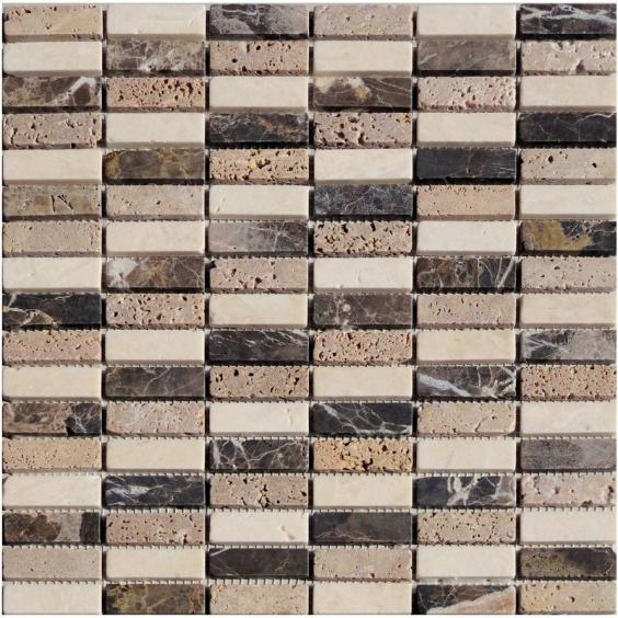 Mosaik Naturstein Stick Braun Beige Mix 30,5x30,5cm