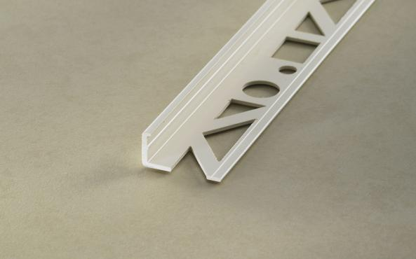 Profloor Fliesenprofil Winkelabschluss Hart-PVC Brillantweiß Länge 2,5m