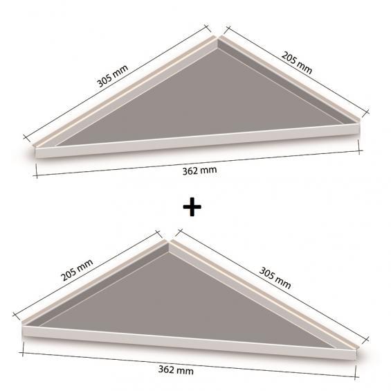 HK Edelstahl Duschablage 2er Set befliesbar Dreieck nachrüstbar 2030L, 2030R