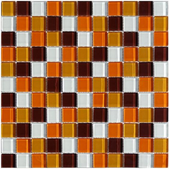 Mosaik Glas Braun Orange Mix 30x30cm