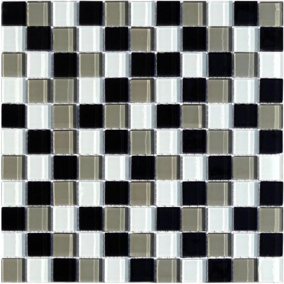 Mosaik Glas Schwarz Grau Braun Mix 30x30cm