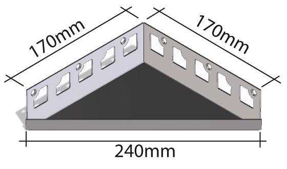 HK Edelstahl Duschablage befliesbar Dreieck 170x170x240mm