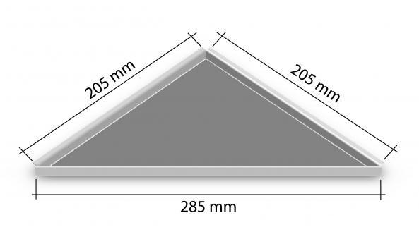 HK Edelstahl Duschablage befliesbar Dreieck nachrüstbar 205x205x285mm