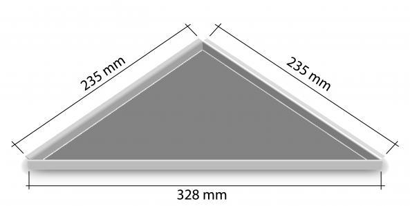 HK Edelstahl Duschablage befliesbar Dreieck nachrüstbar 235x235x328mm