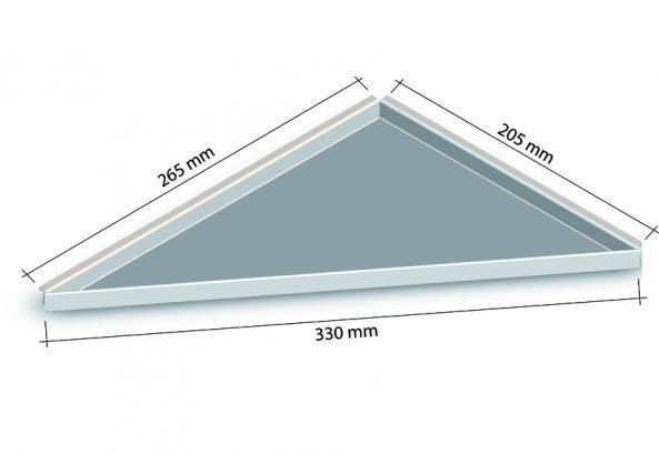 HK Edelstahl Duschablage befliesbar Dreieck nachrüstbar 265x205x330mm