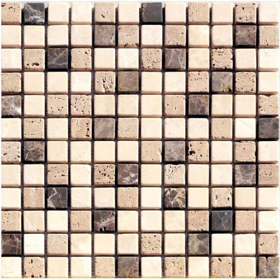 Mosaik Naturstein Braun Beige Mix 30x30cm