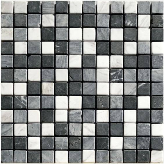 Mosaik Naturstein Schwarz Grau Weiss Mix 30x30cm