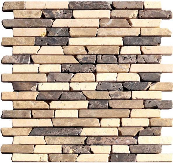 Mosaik Naturstein Linebrick Braun Beige Mix  30,5x30,5cm