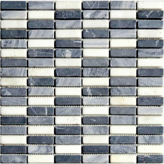 Mosaik Naturstein Stick Schwarz Grau Weiss Mix 30,5x30,5cm