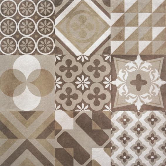 Rocersa Make Up Feinsteinzeug Terrassendekorfliese Hidra Warm Vintage Dekor 60x60x2cm rektifiziert