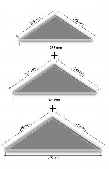 HK Edelstahl Duschablage 3er Set befliesbar Ecken 205,235,265 nachrüstbar