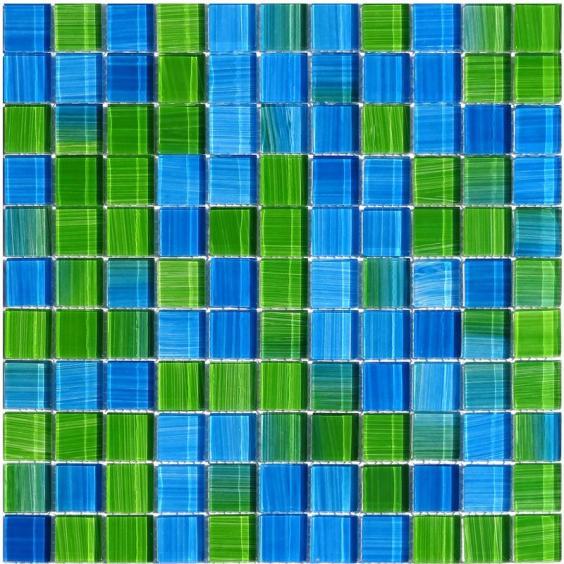 Mosaik Glas Blau Grün Mix 30x30cm