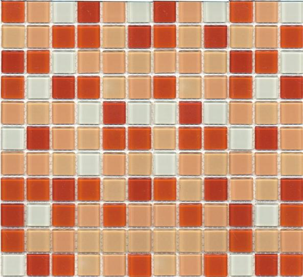 Mosaik Glas Rot Orange Mix 30x30cm