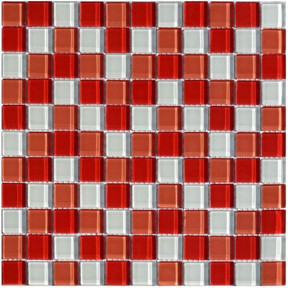 Mosaik Glas Rot Weiss Mix 30x30cm