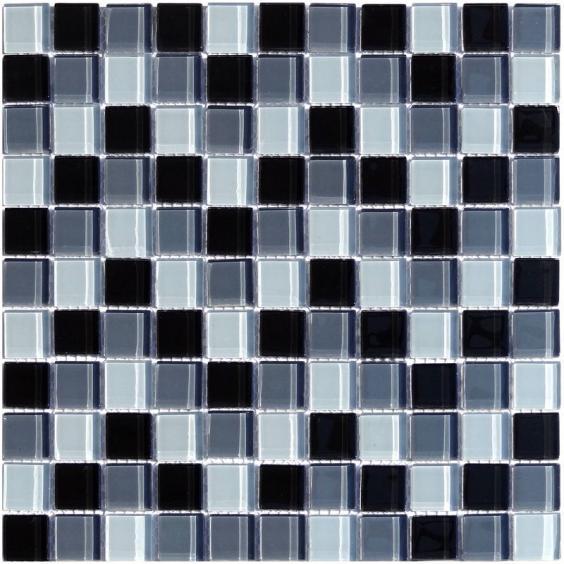 Mosaik Glas Schwarz Grau Mix 30x30cm