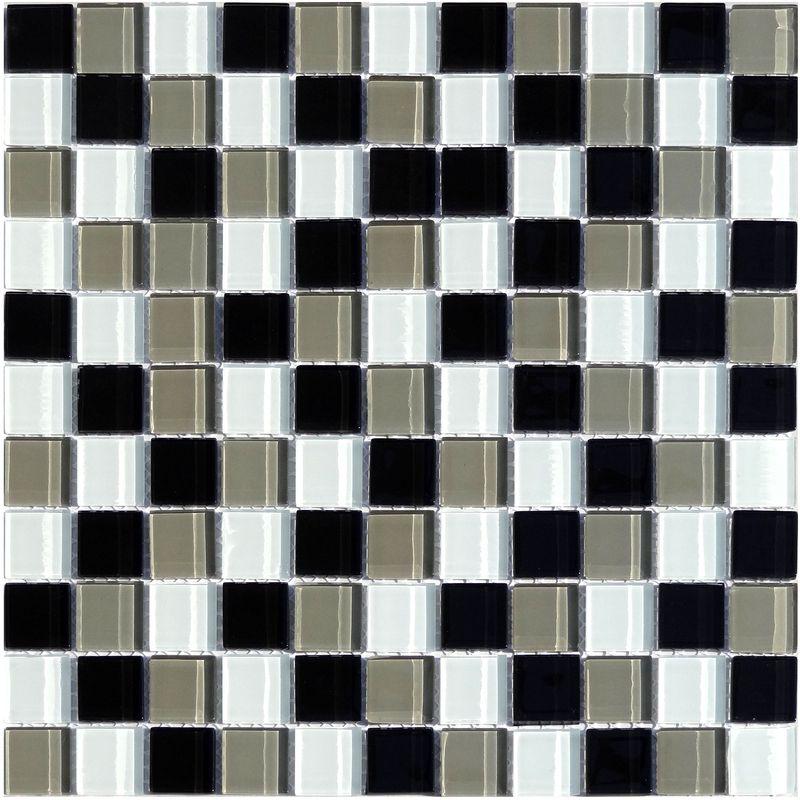 mosaik glas schwarz grau braun mix 30x30cm jetzt online bestellen. Black Bedroom Furniture Sets. Home Design Ideas